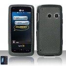 Hard Rubber Feel Design Case for LG Rumor Touch/Banter Touch (Sprint/MetroPCS) - Carbon Fiber