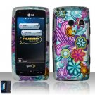 Hard Rubber Feel Design Case for LG Rumor Touch/Banter Touch (Sprint/MetroPCS) - Purple Blue Flowers