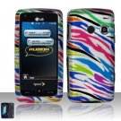 Hard Rubber Feel Design Case for LG Rumor Touch/Banter Touch (Sprint/MetroPCS) - Colorful Zebra