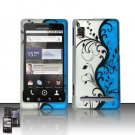 Hard Rubber Feel Design Case for Motorola Droid 2 A955 (Verizon) - Blue Vines