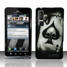 Hard Rubber Feel Design Case for Motorola Droid 3 (Verizon) - Spade Skull