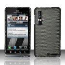 Hard Rubber Feel Design Case for Motorola Droid 3 (Verizon) - Carbon Fiber