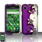 Hard Rubber Feel Design Case for Samsung Vibrant/Galaxy S T959 - Purple Vines