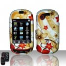 Hard Rubber Feel Design Case for Samsung Gravity Touch - Red Flowers