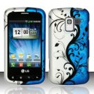 Hard Rubber Feel Design Case for LG Enlighten/Optimus Slider - Blue Vines