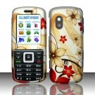 Hard Rubber Feel Design Case for Samsung T401g (StraightTalk) - Red Flowers