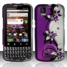 Hard Rubber Feel Design Case for Motorola XPRT MB612 (Sprint) - Purple Vines