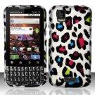 Hard Rubber Feel Design Case for Motorola XPRT MB612 (Sprint) - Colorful Leopard