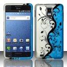 Hard Rubber Feel Design Case for Samsung Infuse 4G - Blue Vines