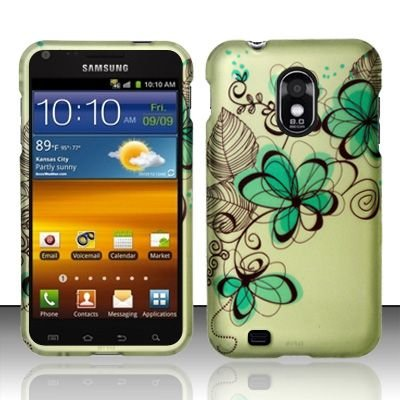 Hard Rubber Feel Design Case for Samsung Epic Touch 4G/Galaxy S2 (Sprint) - Azure Flowers