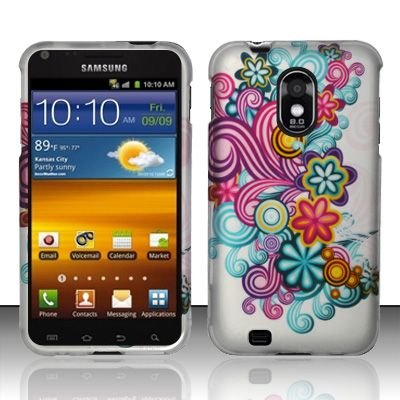 Hard Rubber Feel Design Case for Samsung Epic Touch 4G/Galaxy S2 (Sprint) - Purple Blue Flowers