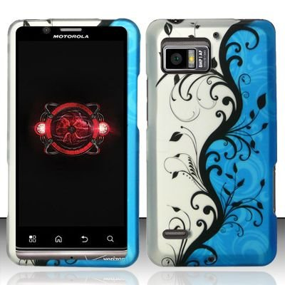 Hard Rubber Feel Design Case for Motorola Droid Bionic 4G XT875 (Verizon) - Blue Vines