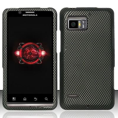 Hard Rubber Feel Design Case for Motorola Droid Bionic 4G XT875 (Verizon) - Carbon Fiber