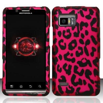 Hard Rubber Feel Design Case for Motorola Droid Bionic 4G XT875 (Verizon) - Pink Leopard