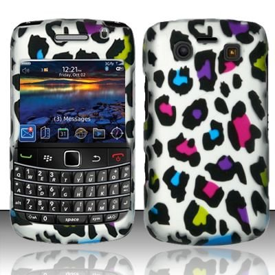 Hard Rubber Feel Design Case for Blackberry Bold 9700/9780 - Colorful Leopard