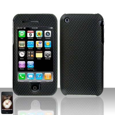 Hard Rubber Feel Design Case for Apple iPhone 3G/3Gs - Carbon Fiber