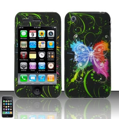 Hard Rubber Feel Design Case for Apple iPhone 3G/3Gs - Rainbow Butterfly