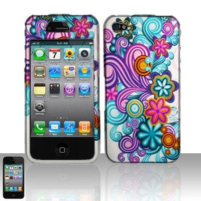 Hard Rubber Feel Design Case for Apple iPhone 4/4S - Purple Blue Flowers