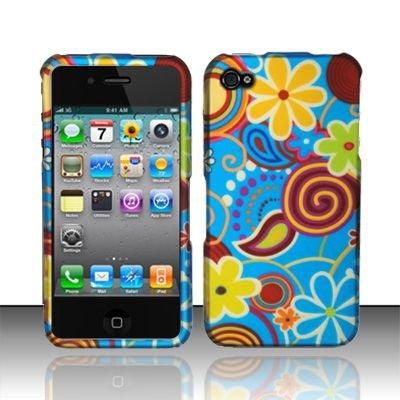Hard Rubber Feel Design Case for Apple iPhone 4/4S - Summer Flowers