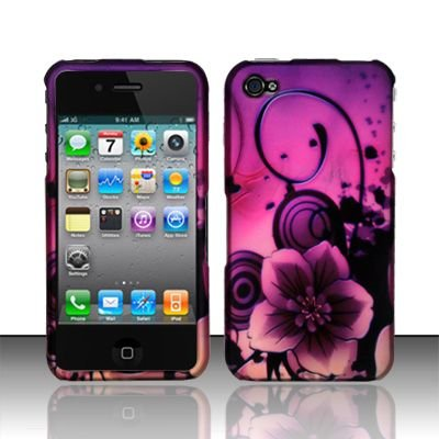 Hard Rubber Feel Design Case for Apple iPhone 4/4S - Purple Flowers