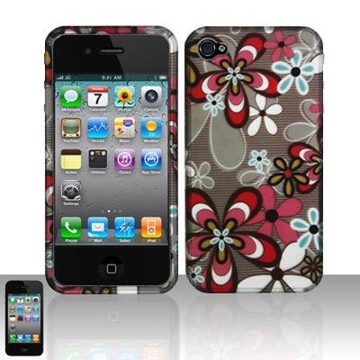 Hard Rubber Feel Design Case for Apple iPhone 4/4S - Autumn Flowers