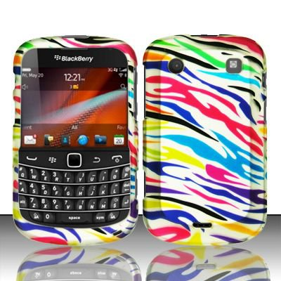 Hard Rubber Feel Design Case for Blackberry Bold Touch 9900/9930 - Colorful Zebra