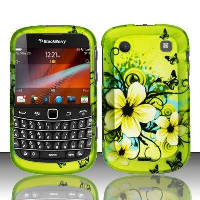 Hard Rubber Feel Design Case for Blackberry Bold Touch 9900/9930 - Hawaiian Flowers