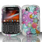 Hard Rubber Feel Design Case for Blackberry Bold Touch 9900/9930 - Purple Blue Flowers