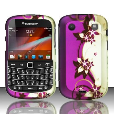 Hard Rubber Feel Design Case for Blackberry Bold Touch 9900/9930 - Purple Vines