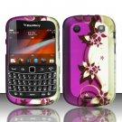 Hard Rubber Feel Design Case for Blackberry Bold Touch 9900/9930 - Purple Vines