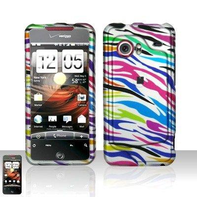 Hard Rubber Feel Design Case for HTC DROID Incredible (Verizon) - Colorful Zebra