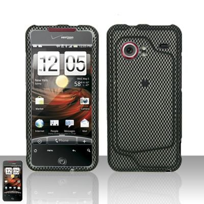 Hard Rubber Feel Design Case for HTC DROID Incredible (Verizon) - Carbon Fiber