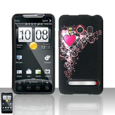 Hard Rubber Feel Design Case for HTC EVO 4G (Sprint) - Royal Heart