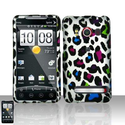 Hard Rubber Feel Design Case for HTC EVO 4G (Sprint) - Colorful Leopard