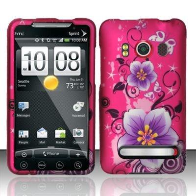 Hard Rubber Feel Design Case for HTC EVO 4G (Sprint) - Hibiscus Flowers