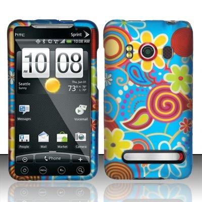 Hard Rubber Feel Design Case for HTC EVO 4G (Sprint) - Summer Flowers