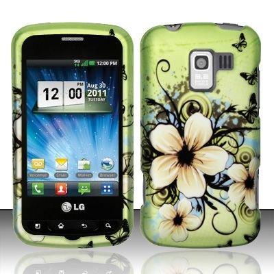 Hard Rubber Feel Design Case for LG Enlighten/Optimus Slider - Hawaiian Flowers