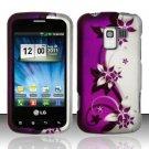 Hard Rubber Feel Design Case for LG Enlighten/Optimus Slider - Purple Vines