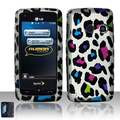 Hard Rubber Feel Design Case for LG Rumor Touch/Banter Touch (Sprint/MetroPCS) - Colorful Leopard
