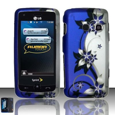 Hard Rubber Feel Design Case for LG Rumor Touch/Banter Touch (Sprint/MetroPCS) - Purple Vines