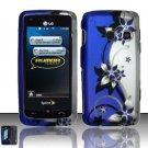 Hard Rubber Feel Design Case for LG Rumor Touch/Banter Touch (Sprint/MetroPCS) - Purple Vines