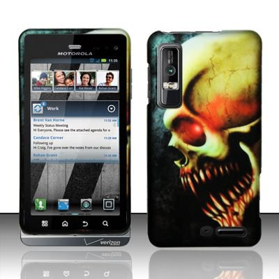 Hard Rubber Feel Design Case for Motorola Droid 3 (Verizon) - Barbaric Skull