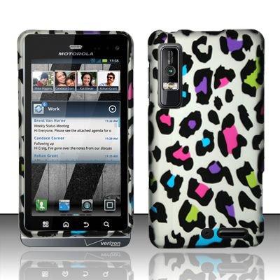 Hard Rubber Feel Design Case for Motorola Droid 3 (Verizon) - Colorful Leopard
