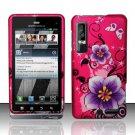 Hard Rubber Feel Design Case for Motorola Droid 3 (Verizon) - Hibiscus Flowers
