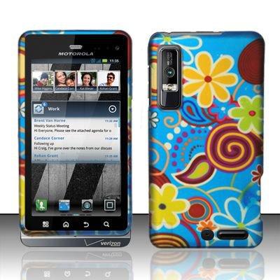 Hard Rubber Feel Design Case for Motorola Droid 3 (Verizon) - Summer Flowers