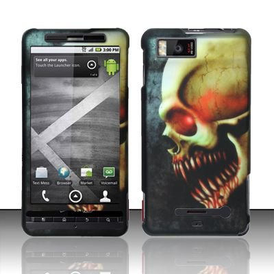 Hard Rubber Feel Design Case for Motorola Droid X MB810 (Verizon)/Milestone X - Barbaric Skull
