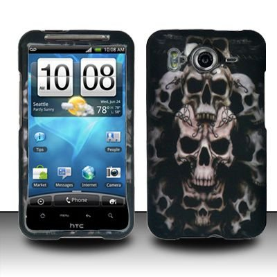 Hard Rubber Feel Design Case for HTC Inspire 4G/Desire HD - Ancient Skulls