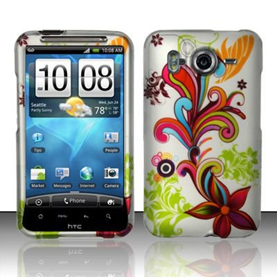 Hard Rubber Feel Design Case for HTC Inspire 4G/Desire HD - Stunning Flowers