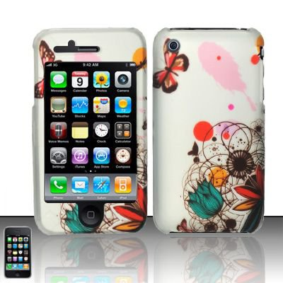 Hard Rubber Feel Design Case for Apple iPhone 3G/3Gs - Butterfly Paint