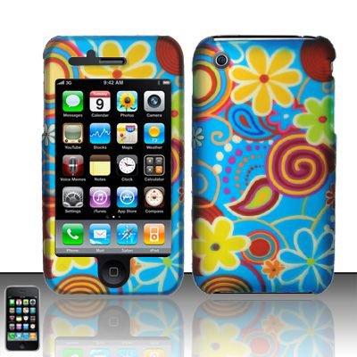 Hard Rubber Feel Design Case for Apple iPhone 3G/3Gs - Summer Flowers